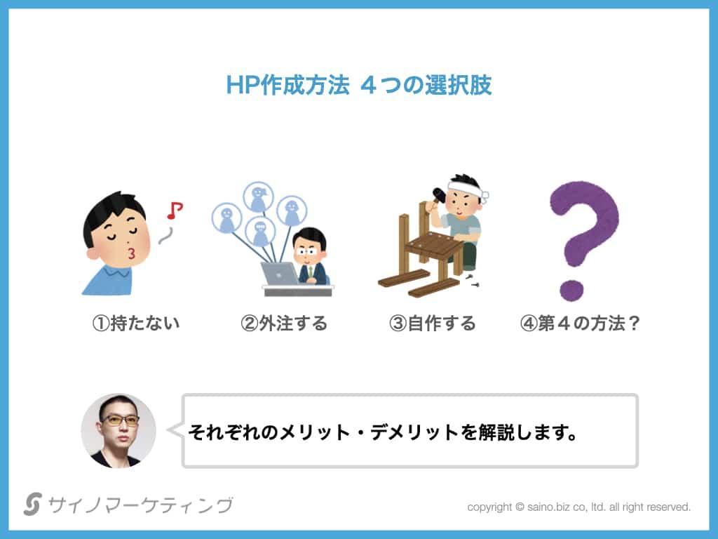 HP作成方法 4つの選択肢